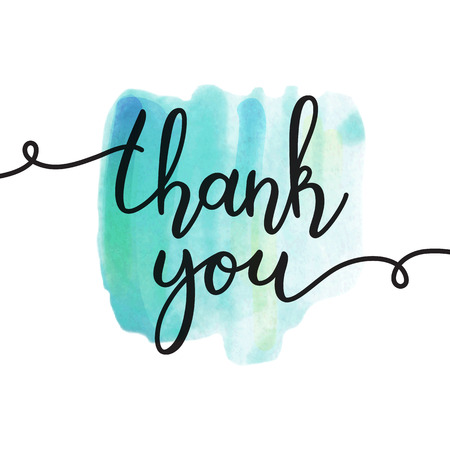 thank you lettering, vector handwritten text, card template