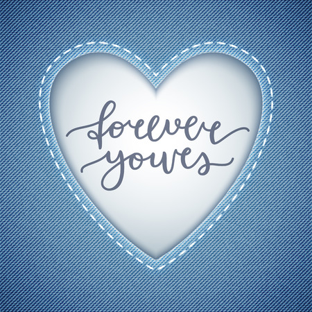 forever yours lettering, vector card with handwritten text