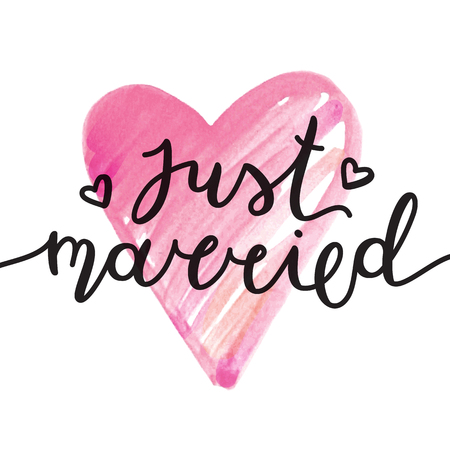just married lettering, vector card with handwritten text