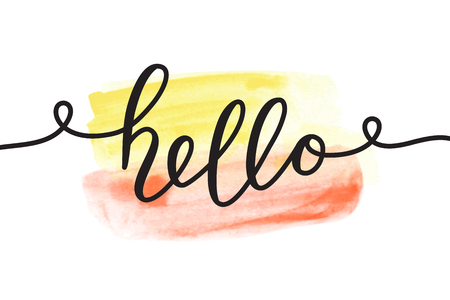 hello vector lettering, card with handwritten text