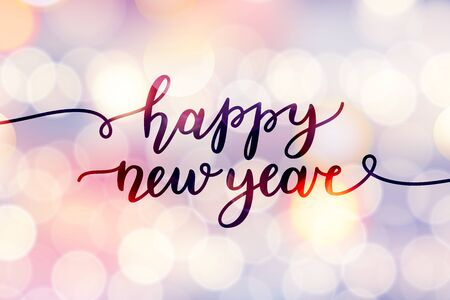 happy new year, lettering, greeting card of handwritten text