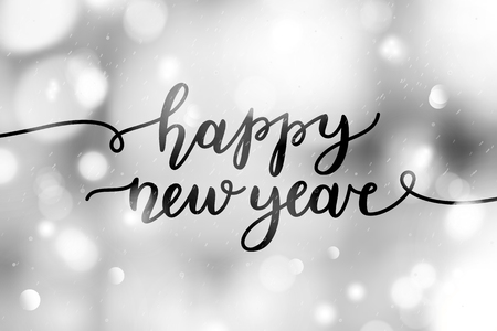 happy new year, lettering, vector greeting card with handwritten text Illustration