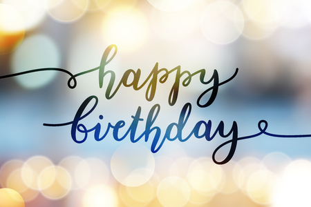 happy birthday, vector lettering, greeting card template