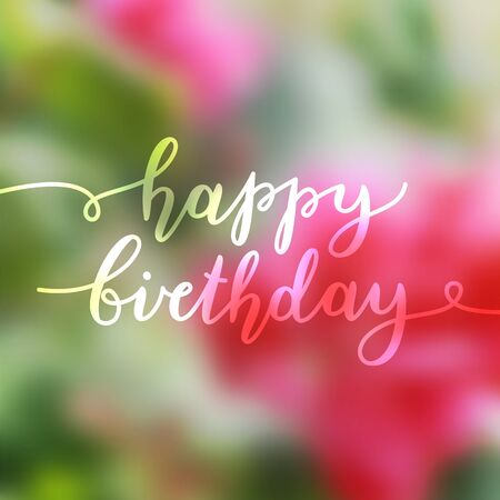 smooth: happy birthday, vector lettering, greeting card template