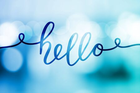 hello, vector lettering on blurred lights background Illustration