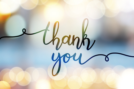 thank you, vector lettering on blurred lights background Imagens - 88104723