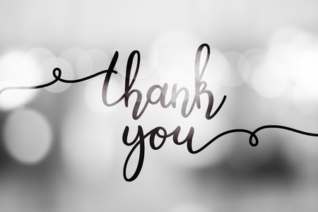 thank you, vector lettering on blurred lights background
