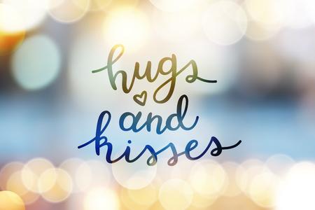 hugs and kisses, lettering, vector handwritten text on blurred lights Illustration