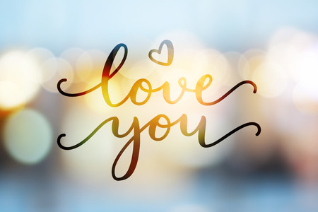 shiny hearts: love you, vector lettering on blurred lights background, valentine card template