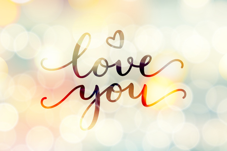 green lantern: love you, vector lettering on blurred lights background, valentine card template