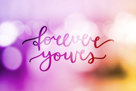 shiny hearts: forever yours lettering, vector card with handwritten text
