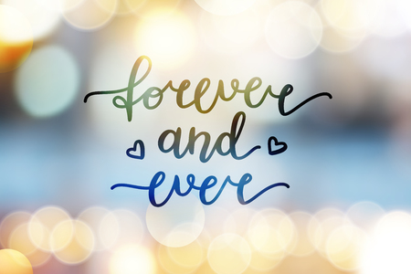 shiny hearts: forever and ever lettering, vector handwritten text