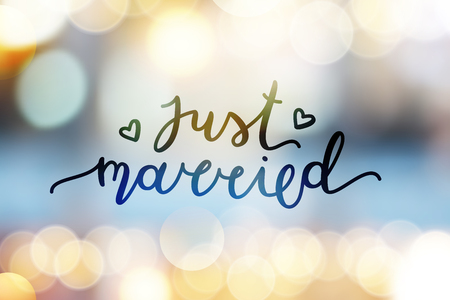 shiny hearts: just married lettering, vector card with handwritten text
