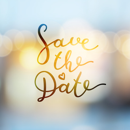 shiny hearts: save the date lettering, vector handwritten text on blurred lights Illustration