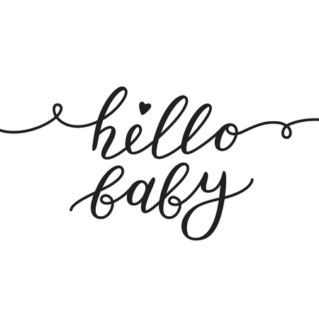 Hello Baby Vector Lettering Baby Shower Card Template Royalty Free