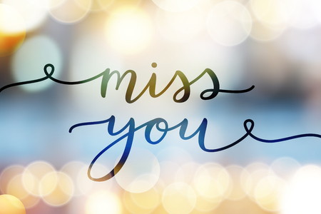 Miss you, lettering, vector card with handwritten text