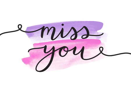 Miss you, lettering, vector card with handwritten text 版權商用圖片 - 88798011