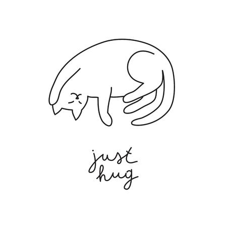 おかしいベクトル手はレタリングで猫を描いた、ちょうど抱擁  イラスト・ベクター素材