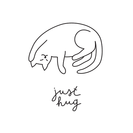 funny vector hand drawn cat with lettering, just hug