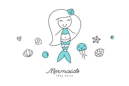 cartoon mermaid, shells, starfish, jellyfish and bubbles, sea elements for design Vector illustration. Illustration