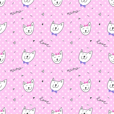 cute cats faces, vector hand drawn seamless pattern