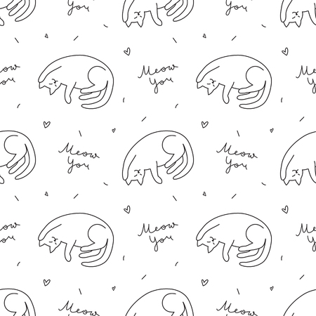 hand drawn cats, vector seamless pattern with cat and lettering Banque d'images - 98048172