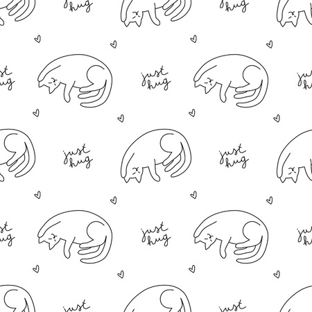 Hand drawn cats, vector seamless pattern with cat and lettering