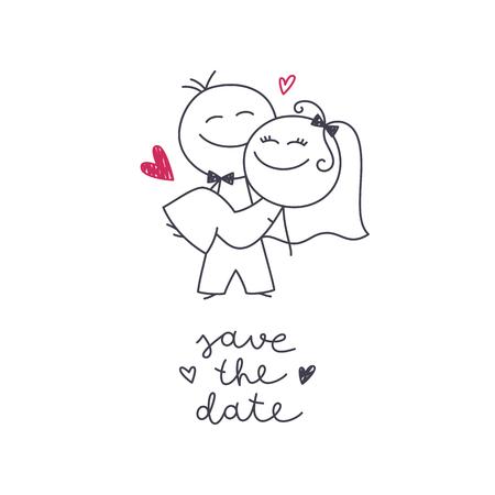 Illustrazione disegnata a mano di sposi carino, sposa e sposo e scritte Save the Date