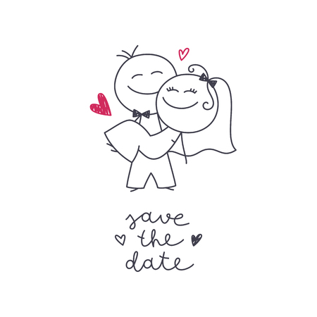 Hand drawn illustration of cute wedding couple, bride and groom, and lettering Save the Date