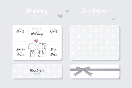 wedding vector invitation template with cute cartoon bride and groom couple
