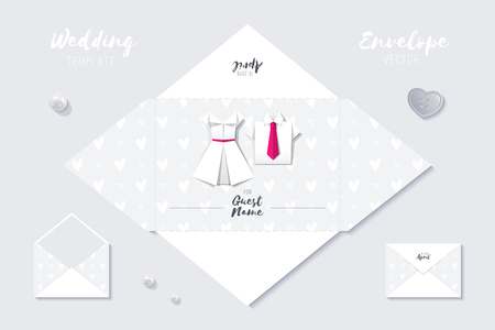 wedding vector envelope template of paper origami shirt and dress  イラスト・ベクター素材