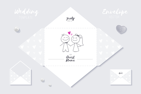 wedding vector envelope template of cute cartoon bride and groom