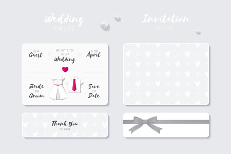 wedding vector invitation template with paper origami shirt and dress  イラスト・ベクター素材