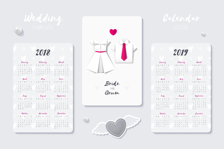 wedding vector calendar template with origami dress and shirt, 2018 and 2019 years  イラスト・ベクター素材