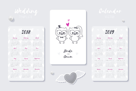 wedding vector calendar template with happy bride and groom hand drawn couple, 2018 and 2019 years Illustration