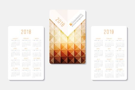 Pocket calendar 2018 and 2019 years, template of geometric abstract background Ilustrace