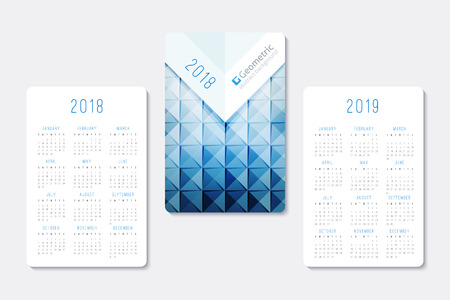 Pocket calendar 2018 and 2019 years, template of geometric abstract background Vettoriali