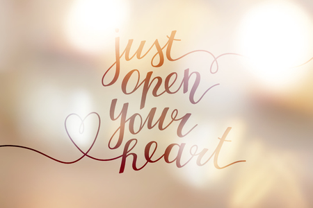 Just open your heart, lettering on golden blurred background of lights