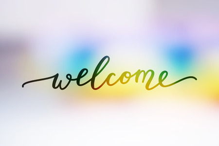 welcome, lettering on rainbow blurred abstract background Ilustração