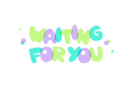 waiting for you lettering, vector colorful bubble text for baby shower party design