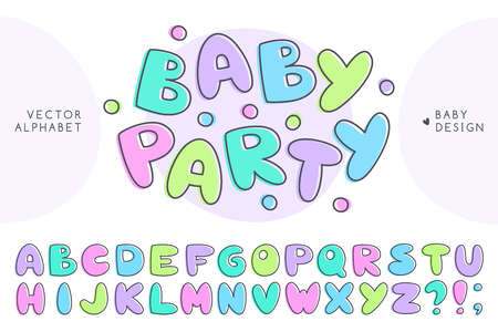 vector baby alphabet, set of cute letters, hand drawn font