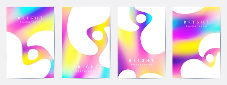 Set of vector booklet cover templates, abstract background with bright blurred spots and white geometric shapes