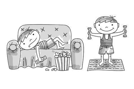Ragazzo pigro sdraiato sul divano con popcorn e telecomando della tv. Ragazzo attivo che fa esercizi mattutini con manubri. Cattive e buone abitudini dei bambini, illustrazione vettoriale disegnata a mano.