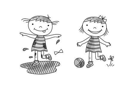 Girl jumping in mud, girl play with ball. Bad and good children behavior, hand drawn vector illustration.