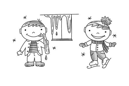 Garçon lèche le glaçon, garçon patinage. Comportement des enfants mauvais et bons, illustration vectorielle dessinée à la main.