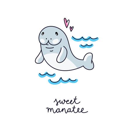 cute cartoon manatee in sea waves, vector hand drawn illustration