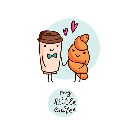 coffee and croissant in love, cute vector cartoon illustration  イラスト・ベクター素材