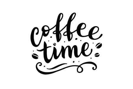 coffee time, vector hand lettering on white background  イラスト・ベクター素材