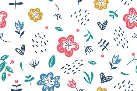 vector summer scandinavian seamless pattern of flowers, branches, leaves and berries