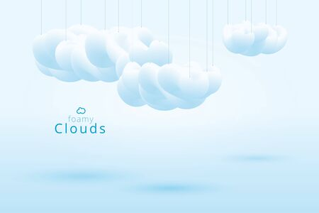 foamy clouds, 3d vector lite blue abstract background